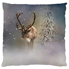 Santa Claus Reindeer In The Snow Large Cushion Case (two Sides) by gatterwe