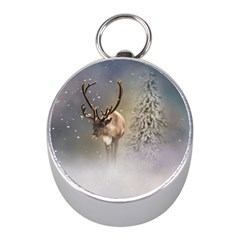 Santa Claus Reindeer In The Snow Mini Silver Compasses by gatterwe