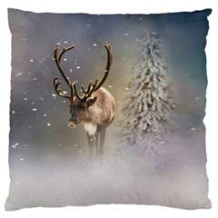 Santa Claus Reindeer In The Snow Large Flano Cushion Case (two Sides) by gatterwe