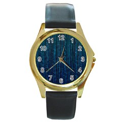 Stylish Abstract Blue Strips Round Gold Metal Watch by gatterwe