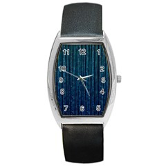 Stylish Abstract Blue Strips Barrel Style Metal Watch by gatterwe