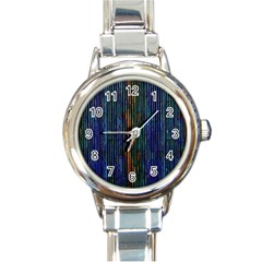 Stylish Colorful Strips Round Italian Charm Watch by gatterwe