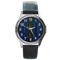 Stylish Colorful Strips Round Metal Watch by gatterwe