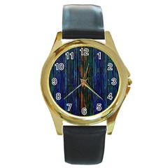 Stylish Colorful Strips Round Gold Metal Watch by gatterwe