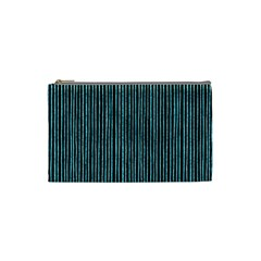Stylish Frost Blue Strips Cosmetic Bag (small)  by gatterwe