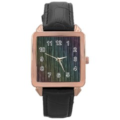 Stylish Rainbow Strips Rose Gold Leather Watch  by gatterwe