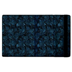 Blue Flower Glitter Look Apple Ipad 2 Flip Case