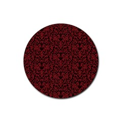 Red Glitter Look Floral Rubber Round Coaster (4 Pack)  by gatterwe