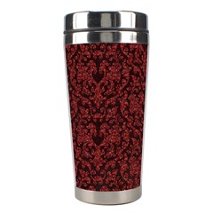 Red Glitter Look Floral Stainless Steel Travel Tumblers by gatterwe