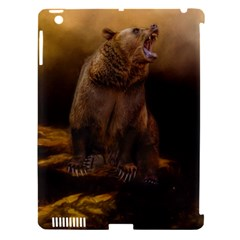 Roaring Grizzly Bear Apple Ipad 3/4 Hardshell Case (compatible With Smart Cover) by gatterwe