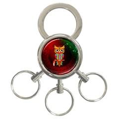 Cute Owl, Mandala Design 3 Ring Key Chains by FantasyWorld7