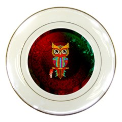 Cute Owl, Mandala Design Porcelain Plates by FantasyWorld7
