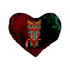 Cute Owl, Mandala Design Standard 16  Premium Flano Heart Shape Cushions by FantasyWorld7