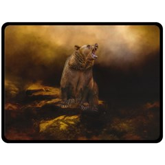 Roaring Grizzly Bear Double Sided Fleece Blanket (large)  by gatterwe