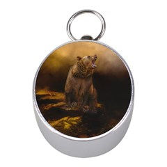 Roaring Grizzly Bear Mini Silver Compasses by gatterwe