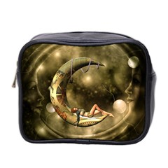 Steampunk Lady  In The Night With Moons Mini Toiletries Bag 2 Side by FantasyWorld7