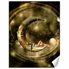 Steampunk Lady  In The Night With Moons Canvas 18  X 24   by FantasyWorld7