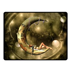 Steampunk Lady  In The Night With Moons Fleece Blanket (small) by FantasyWorld7