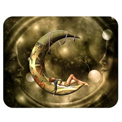 Steampunk Lady  In The Night With Moons Double Sided Flano Blanket (medium)  by FantasyWorld7