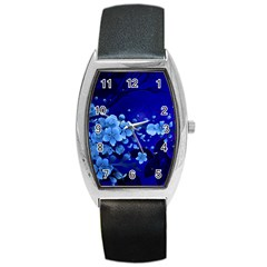 Floral Design, Cherry Blossom Blue Colors Barrel Style Metal Watch by FantasyWorld7