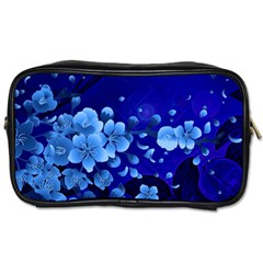 Floral Design, Cherry Blossom Blue Colors Toiletries Bags by FantasyWorld7