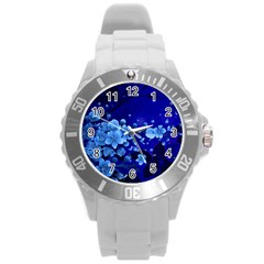Floral Design, Cherry Blossom Blue Colors Round Plastic Sport Watch (l) by FantasyWorld7