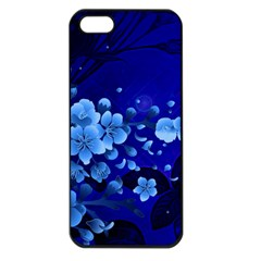 Floral Design, Cherry Blossom Blue Colors Apple Iphone 5 Seamless Case (black) by FantasyWorld7