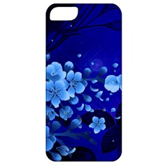Floral Design, Cherry Blossom Blue Colors Apple Iphone 5 Classic Hardshell Case by FantasyWorld7