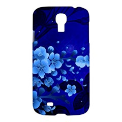 Floral Design, Cherry Blossom Blue Colors Samsung Galaxy S4 I9500/i9505 Hardshell Case by FantasyWorld7