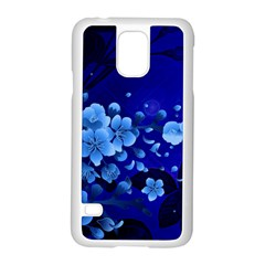 Floral Design, Cherry Blossom Blue Colors Samsung Galaxy S5 Case (white) by FantasyWorld7