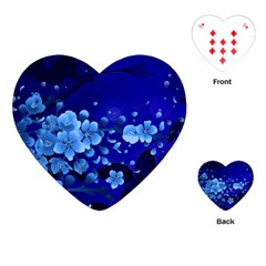 Floral Design, Cherry Blossom Blue Colors Playing Cards (heart)  by FantasyWorld7