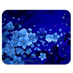 Floral Design, Cherry Blossom Blue Colors Double Sided Flano Blanket (medium)  by FantasyWorld7
