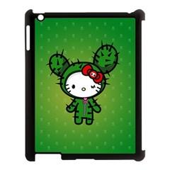 Vector Cat Kitty Cactus Green  Apple Ipad 3/4 Case (black) by amphoto