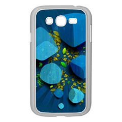Cube Leaves Dark Blue Green Vector  Samsung Galaxy Grand Duos I9082 Case (white) by amphoto