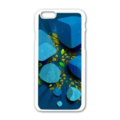Cube Leaves Dark Blue Green Vector  Apple Iphone 6/6s White Enamel Case by amphoto