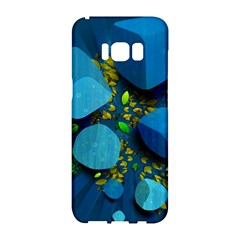 Cube Leaves Dark Blue Green Vector  Samsung Galaxy S8 Hardshell Case  by amphoto