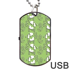 Cow Flower Pattern Wallpaper Dog Tag Usb Flash (one Side) by Nexatart