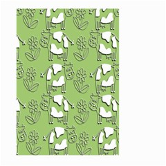 Cow Flower Pattern Wallpaper Large Garden Flag (two Sides) by Nexatart