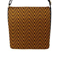 Chevron Brown Retro Vintage Flap Messenger Bag (l)  by Nexatart