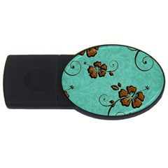Chocolate Background Floral Pattern Usb Flash Drive Oval (4 Gb) by Nexatart