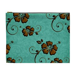Chocolate Background Floral Pattern Cosmetic Bag (xl) by Nexatart