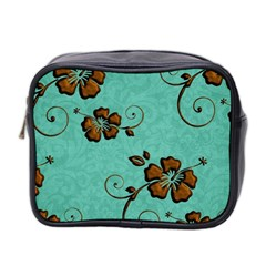 Chocolate Background Floral Pattern Mini Toiletries Bag 2 Side by Nexatart