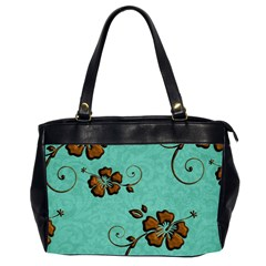Chocolate Background Floral Pattern Office Handbags (2 Sides)  by Nexatart