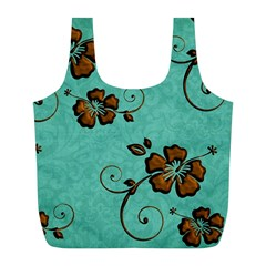Chocolate Background Floral Pattern Full Print Recycle Bags (l)  by Nexatart