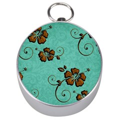 Chocolate Background Floral Pattern Silver Compasses by Nexatart