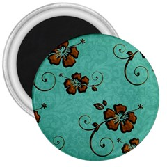 Chocolate Background Floral Pattern 3  Magnets