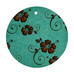Chocolate Background Floral Pattern Ornament (round) by Nexatart
