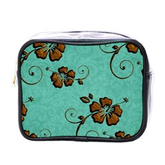Chocolate Background Floral Pattern Mini Toiletries Bags