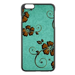 Chocolate Background Floral Pattern Apple Iphone 6 Plus/6s Plus Black Enamel Case by Nexatart