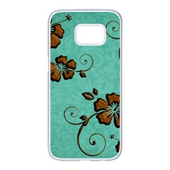 Chocolate Background Floral Pattern Samsung Galaxy S7 Edge White Seamless Case by Nexatart